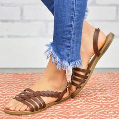 PU Sem salto Sandálias Sem salto Peep toe Chinelos com Fivela sapatos