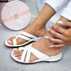 PU Flat Hæl Sandaler Flate sko med Flettet Stropp sko