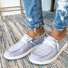 Femmes Toile Talon plat Chaussures plates Glisser sur avec Dentelle chaussures