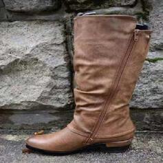 Bayanlar PU Tıknaz Topuk Orta Buzağı Çizmeleri Ile Fermuar ayakkabı