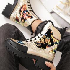 Women's PU Chunky Heel Martin Boots Round Toe With Sequin Buckle Lace-up Splice Color shoes