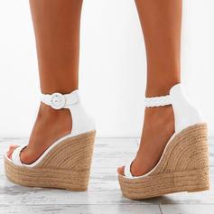 PU Kile Hæl Sandaler Platform Kiler Titte Tå med Annet sko