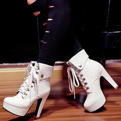 Donna PU Zeppe Tacco spesso Zeppe Stivali Stivali alla caviglia Tacchi con Fascia di gomma Colore solido scarpe