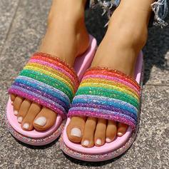 Bayanlar PVC Düz topuk Sandalet Flats Peep Toe Terlik Ile Yapay elmas ayakkabı