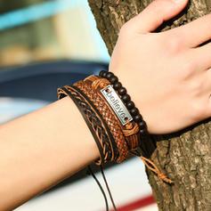 Letter Alloy Leather Rope Unisex Bracelets (Set of 4)