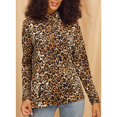Leopardo Cuello Alto Manga Larga Casual Tejido De Punto Blusas