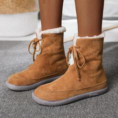 Vrouwen Suede Flat Heel Half-Kuit Laarzen Ronde neus met Vastrijgen Effen kleur schoenen