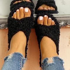 Bayanlar Kumaş Düz topuk Peep Toe Terlik Ile Kürk Diğerleri ayakkabı