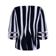 """Pruhovaný Výstřih do """"V"""" 1/2 rukávy Neformální Elegant Bluze"""
