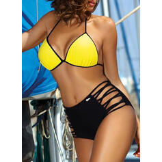 Solid Color High Cut Halter Sexy Classic Bikinis Swimsuits