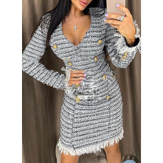 Print Long Sleeves Bodycon Above Knee Elegant Dresses