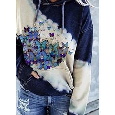 Color Block Animal Print Pockets Long Sleeves Hoodie