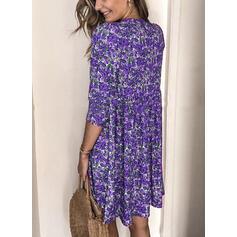 Nadrukowana/Kwiatowy Długie rękawy Koktajlowa Nad kolana Casual Tunika Sukienki