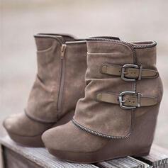 Kvinner Semsket Kile Hæl Støvler med Glidelås sko