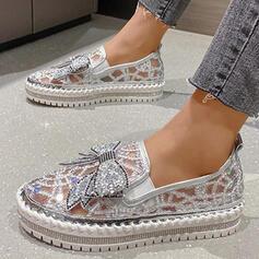 Bayanlar PU Düz topuk Flats Düşük Üst Yuvarlak ayak Giymek Ile İlmek Dikiş dantel Oymak ayakkabı