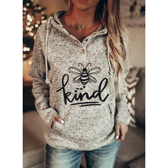 Animal Print Figure Pockets Long Sleeves Hoodie