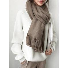 Jednolity Żebrowany Dekolt w kształcie litery V Casual Swetry