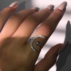 Schijnt Boho Legering met Ster Maan Steentjes Ringen