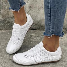 Mulheres PU Sem salto Sem salto Low Top Toe rodada Mocassins com Oca-out Cor sólida sapatos