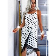 PolkaDot/Tassel Sleeveless Sheath Asymmetrical Casual Slip Dresses