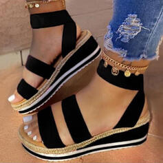 Women's Leatherette Wedge Heel Sandals Platform Peep Toe Slingbacks With Split Joint shoes