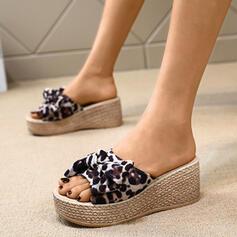 De mujer Cuero Tipo de tacón Sandalias Salón Cuñas Encaje Solo correa Pantuflas con Bowknot zapatos