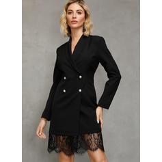 Dantelă/Solid Mâneci Lungi Manşon Deasupra Genunchiului Negre/Elegant Elbiseler