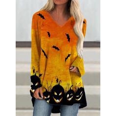 Animal Print V-Neck Long Sleeves Casual Halloween T-shirts