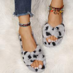 Mulheres Imitação de pele Sem salto Chinelos com Pele sapatos