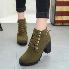 Kvinner PU Stor Hæl Ankelstøvler med Spenne Blondér sko