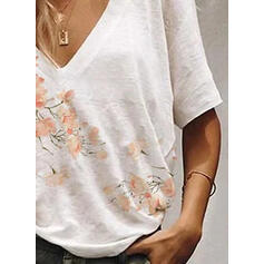 Estampado Floral Decote em V 1/2 Manga Casual Camisetas