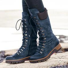 Femmes Similicuir Talon bottier Bottes mi-mollets bout rond Martin bottes avec Dentelle Couleur unie chaussures