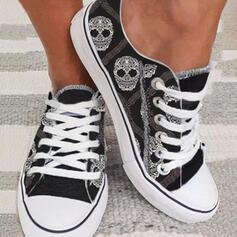 Női Vászon Lapos sarok Lakások Espadrille -Val Lace-up cipő