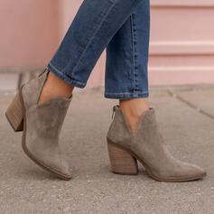 Női Szarvasbőr Chunky sarok Csizma -Val Cipzár Szolid szín cipő