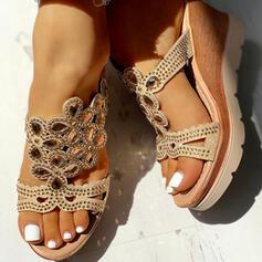 Bayanlar PU Sivri topuk Sandalet Takozlar Peep Toe Terlik topuk Ile Yapay elmas ayakkabı