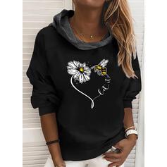 Floral Animal Print Long Sleeves Hoodie