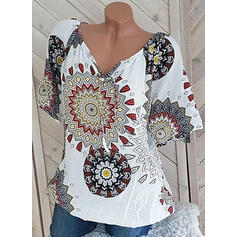 Print V-Neck Short Sleeves Casual Knit Blouses