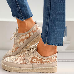 Frauen Mesh Flascher Absatz Flache Schuhe mit Zuschnüren Hohl-out Schuhe