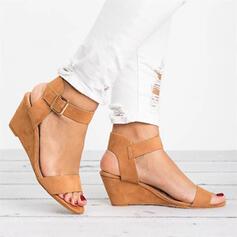 Women's PU Wedge Heel Sandals Wedges Peep Toe Heels With Buckle Solid Color shoes
