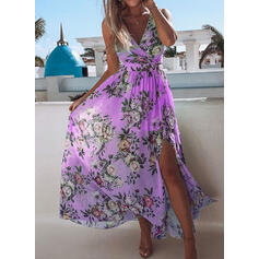 Floral Sleeveless A-line Casual Midi Dresses