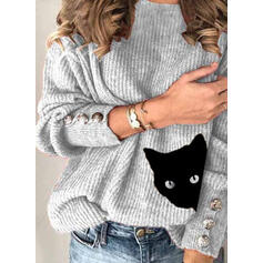 Animal Print Round Neck Casual Sweaters
