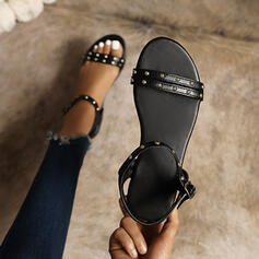 Women's PU Flat Heel Sandals Flats Peep Toe With Rivet Buckle shoes