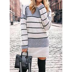 Barevný blok Pruhované Hrubá pletenina Kulatý výtřih Neformální Dlouhé Svetrové šaty
