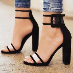 De mujer Tejido Tacón stilettos Sandalias Salón Tacones con Hebilla zapatos