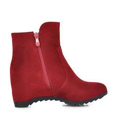 Kvinner Semsket Kile Hæl Kiler Støvler Ankelstøvler med Glidelås sko