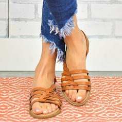 PU Sem salto Sandálias Sem salto Peep toe com Fivela sapatos