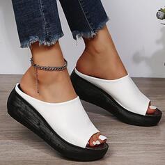 Mulheres PU Plataforma Sandálias Chinelos com Cor sólida sapatos
