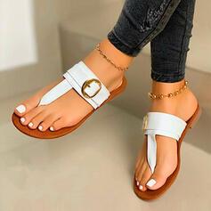 Frauen PU Flascher Absatz Sandalen Flip Flops Pantoffel mit Hohl-out Schuhe