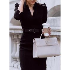 Solid 3/4 Sleeves/Puff Sleeves Sheath Little Black/Elegant Midi Dresses