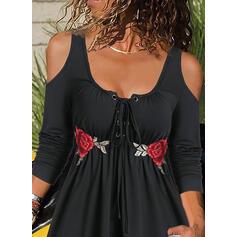 вышивка Цветочный Холодный прием Длинные рукова Повседневная Блузы